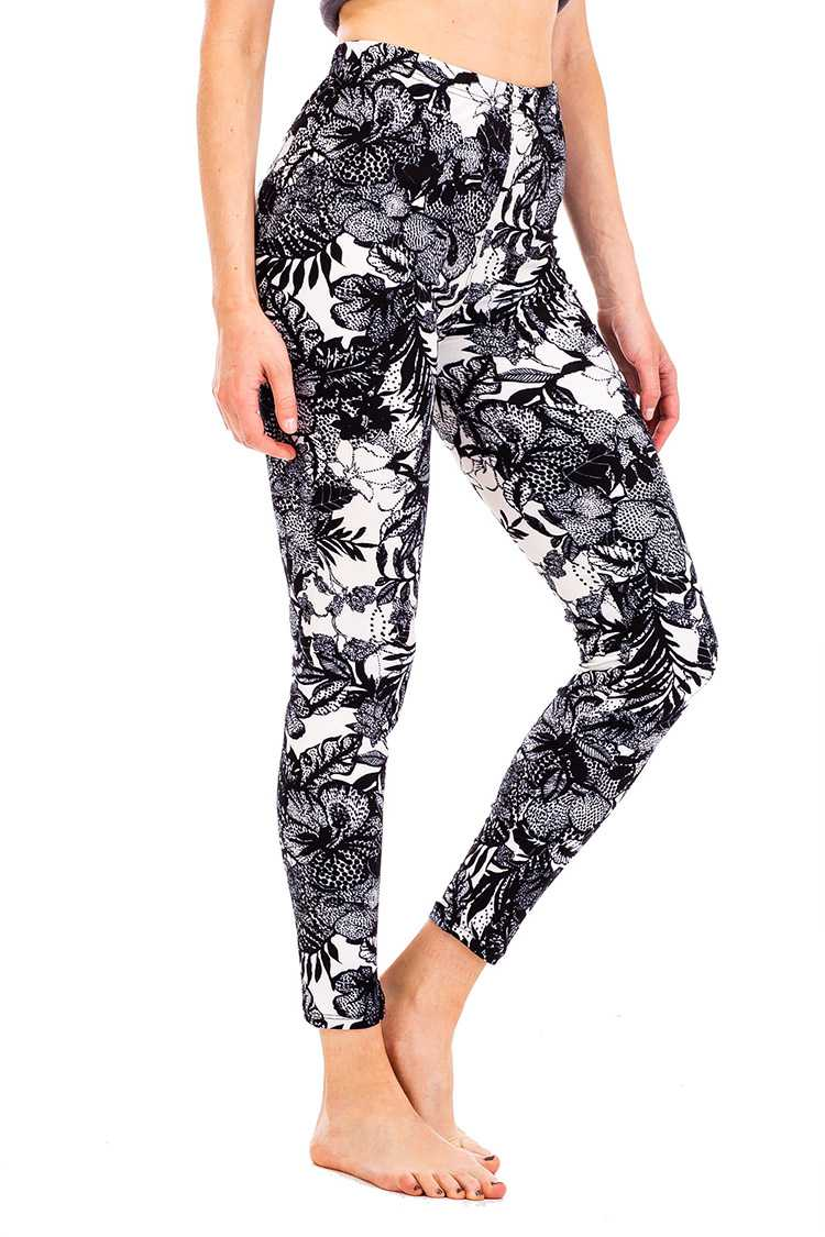 Laced Floral Print Brushed Leggings