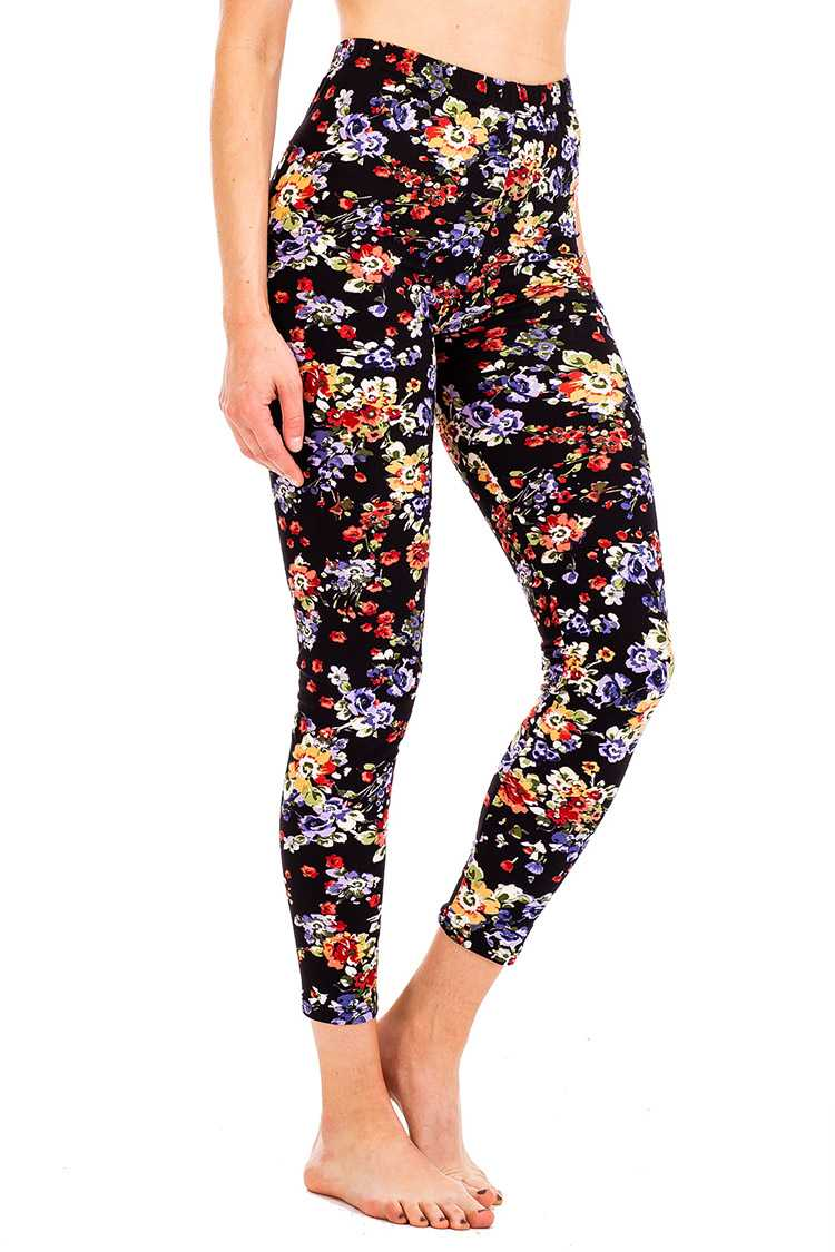 Peach Skin Mix Floral Print Crop Leggings