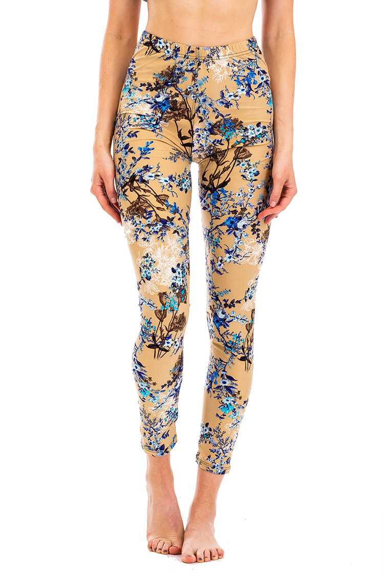 Peach Skin Floral Crop Leggings