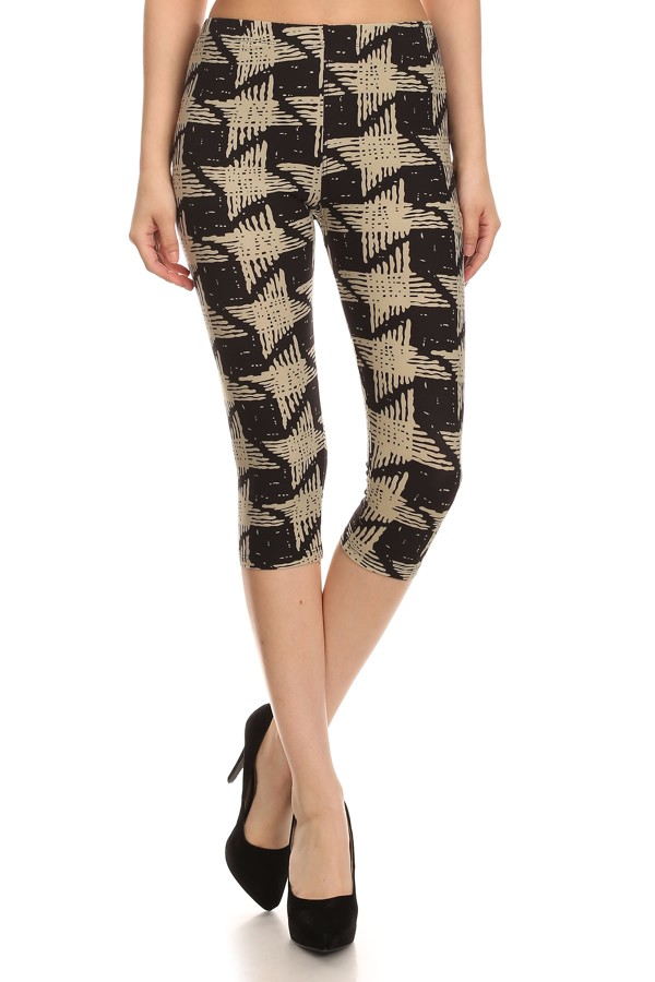 Abstract Print Capri Legging