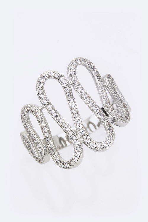 Cubic Zirconia Swirly Fashion Ring