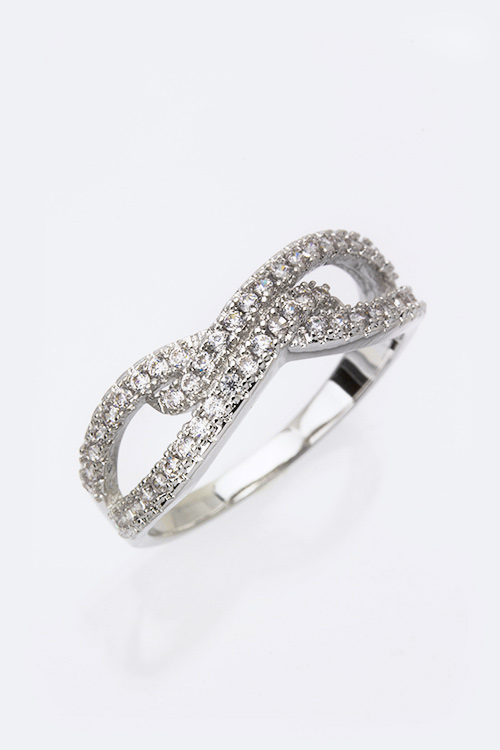Cubic Zirconia Infinity Knotted Fashion Ring