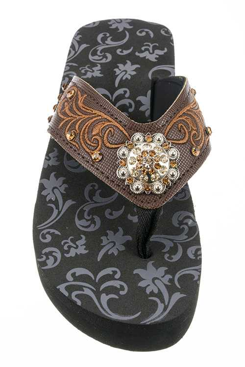 Concho & Embroidery Fashion Wedge Flipflops