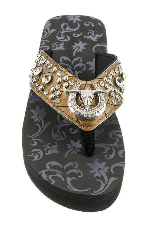 Crystal Long Horn Western Wedge Flipflops