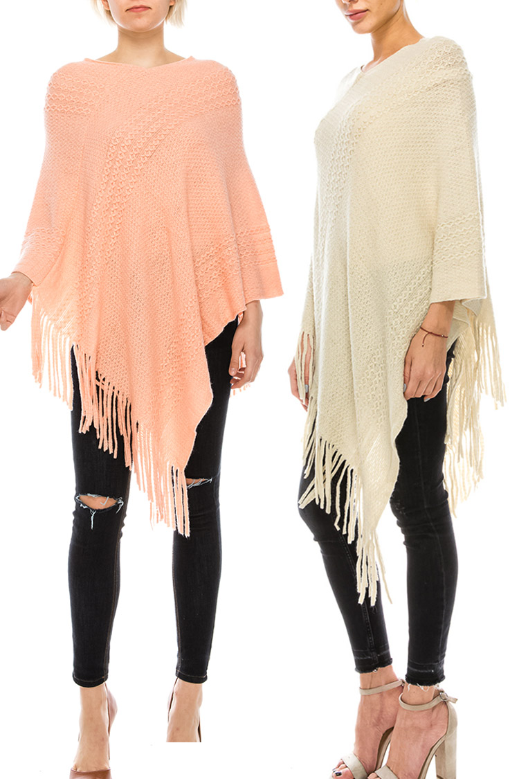Fringe Raised Knit Poncho Set