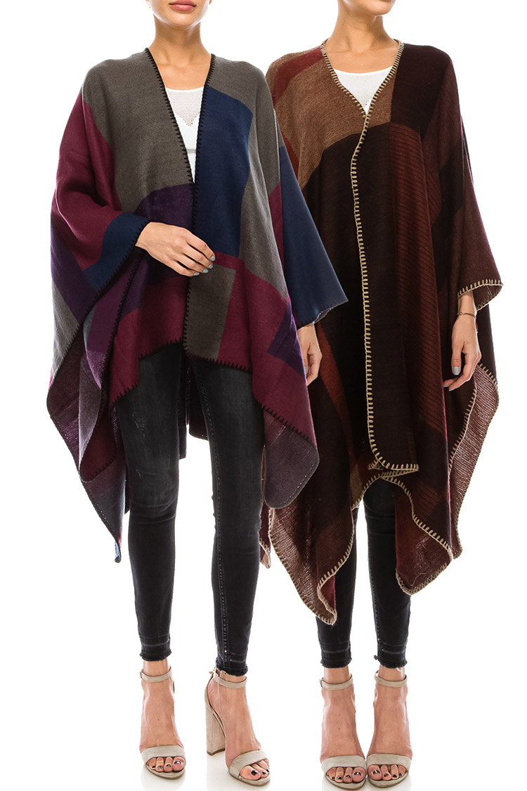 Color Block Whip Stitch Winter Poncho