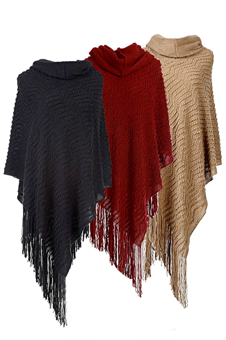 Raised Knit Fringe Funnel Neck Poncho