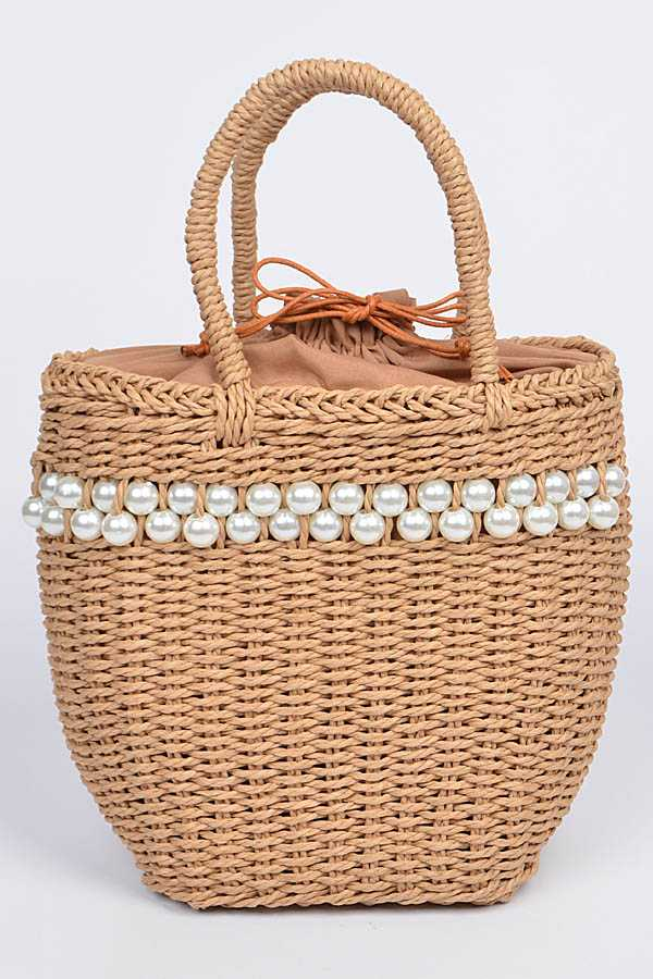Structure Pearl Accent Straw Bag