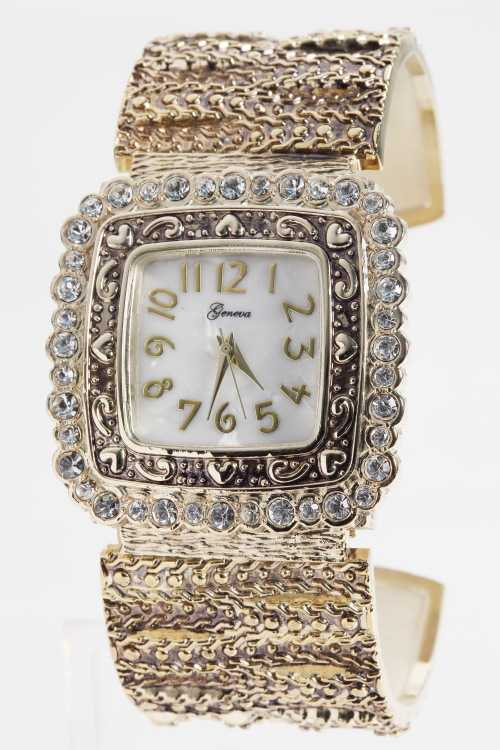 Crystal Bezel Bangle Watch