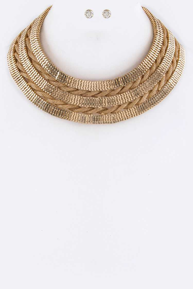 Mix Chains Layer Collar Necklace Set