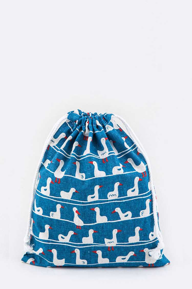 Ducks Print Canvas Drawstring Pouch - M