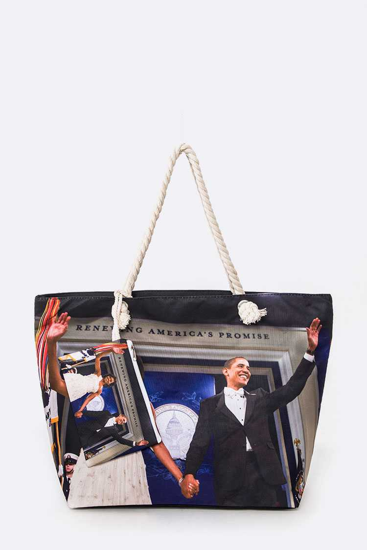 Michelle And Obama Picture Printed Tote Set