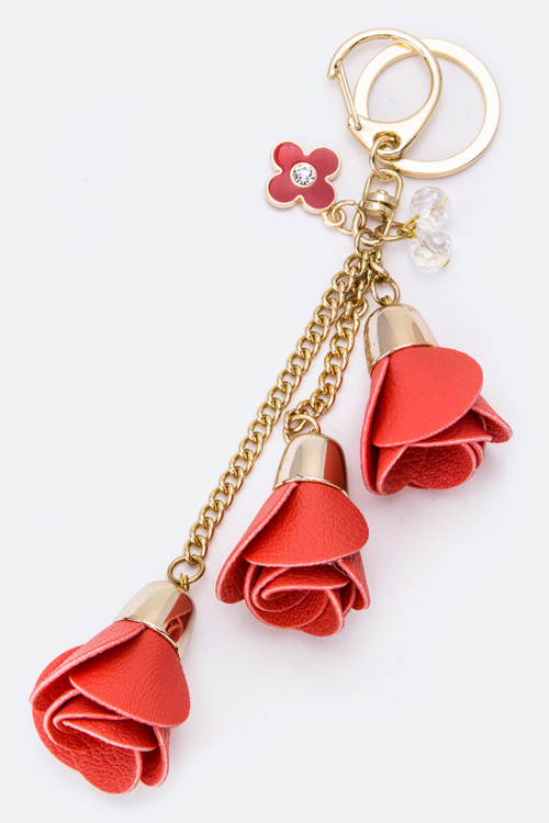 Leather Rose Drops Fashion Bag Charm