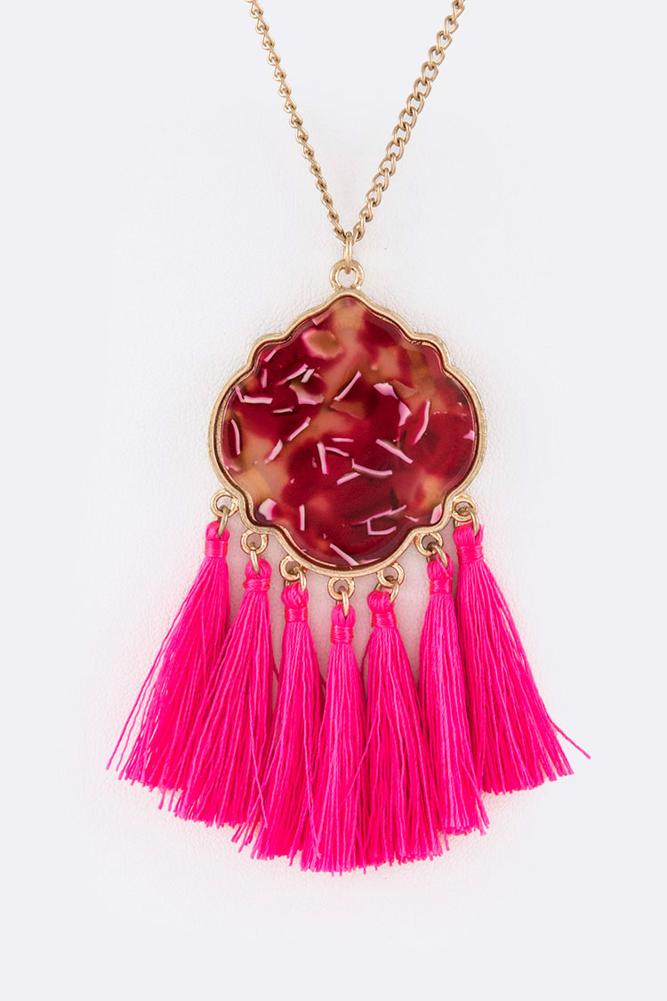 Celluloid Tassel Iconic Pendant Necklace