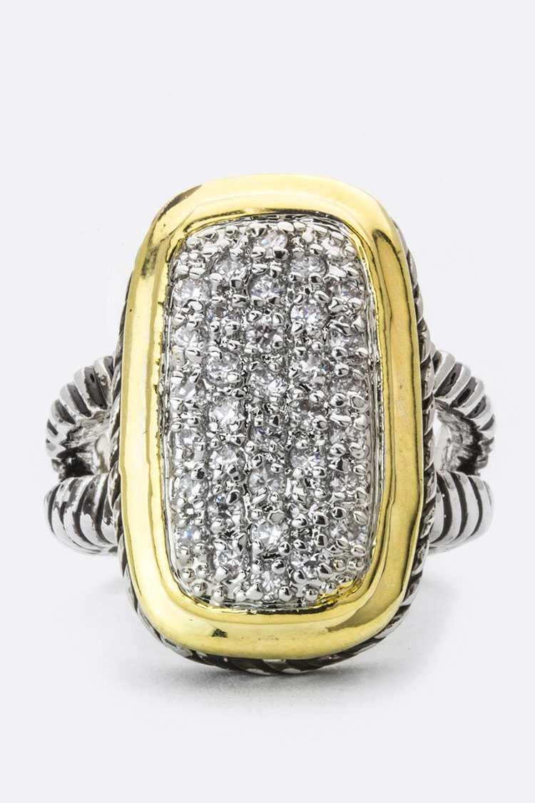 2 Tone Pave CZ Ring