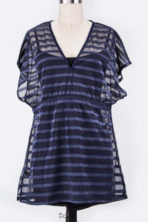 Stripe Sheer Cover Up