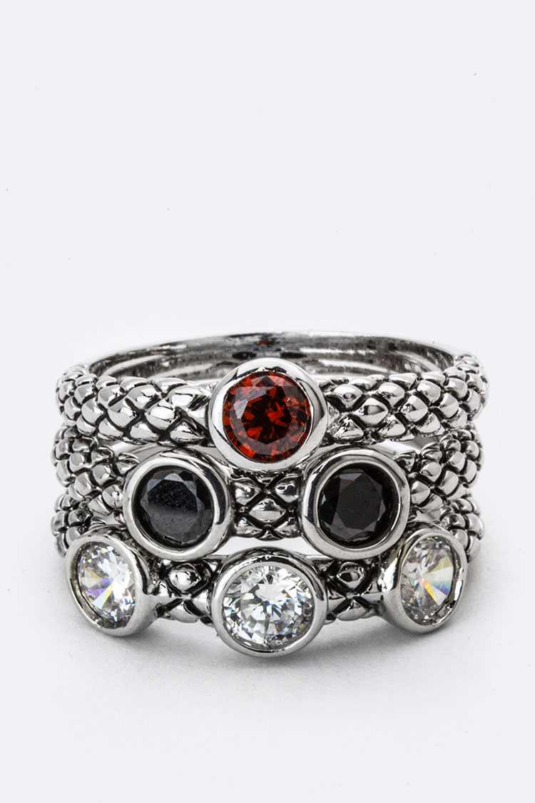 Mix CZ Triple Ring