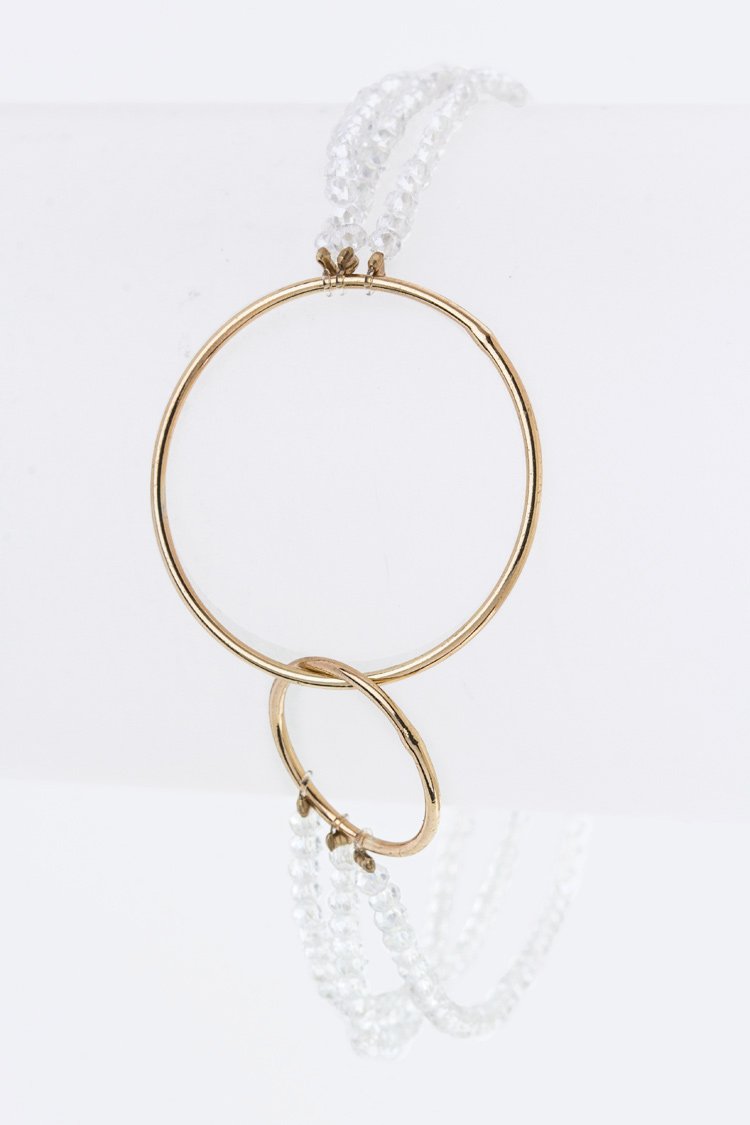 Linked Hoops Bead Stretch Bracelet