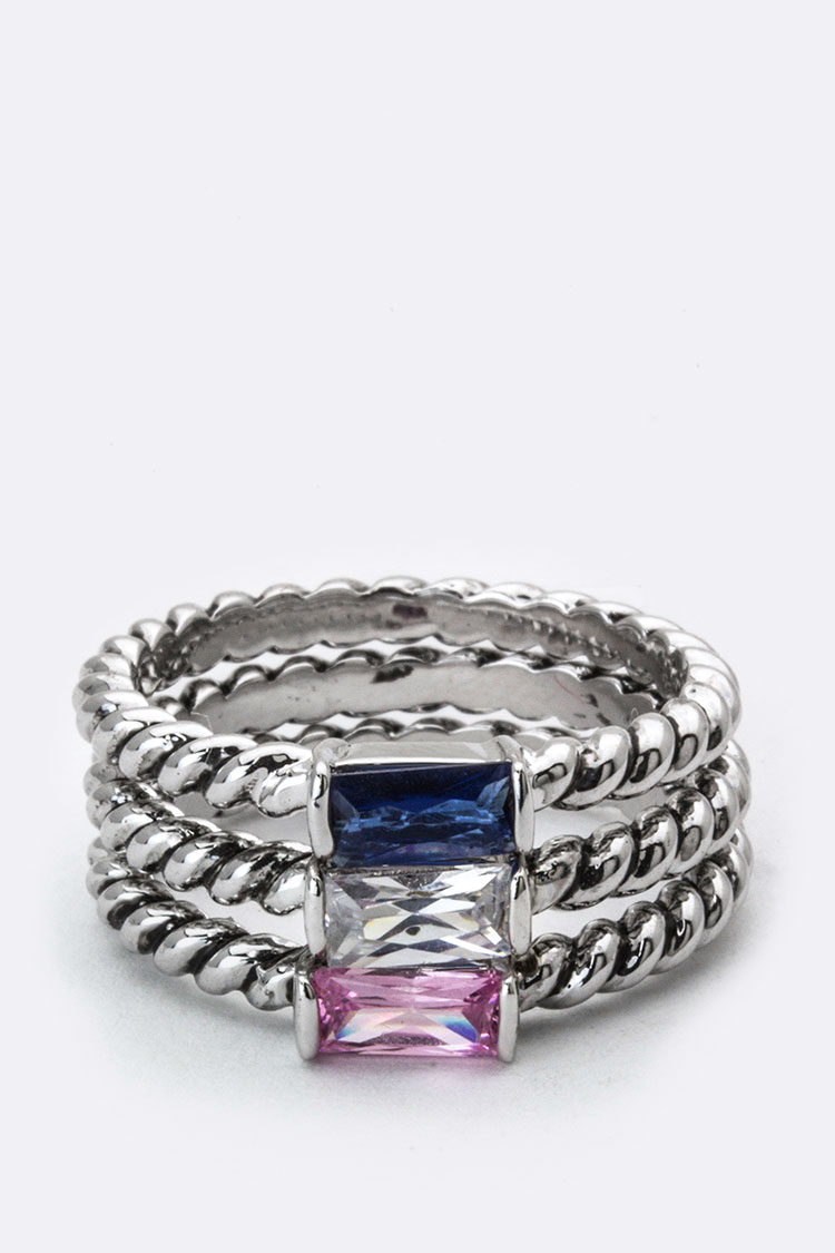 Baguette Crystal Triple Ring