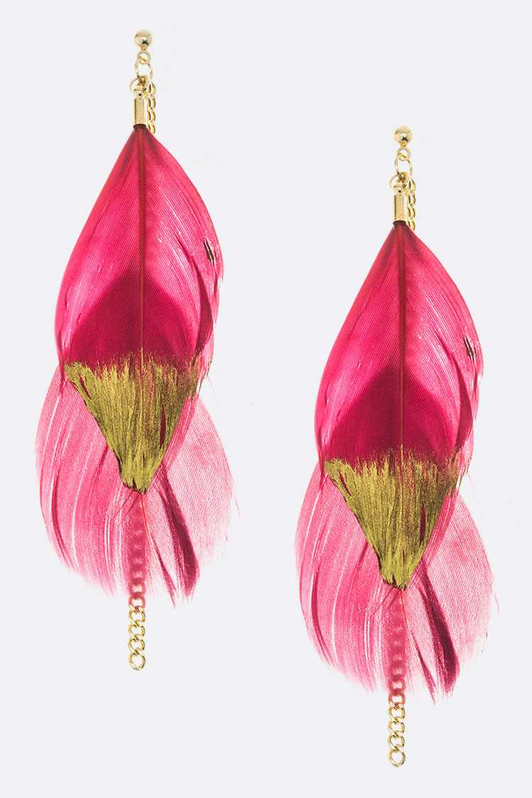 Gold Dipped Feather Dangle Earrings