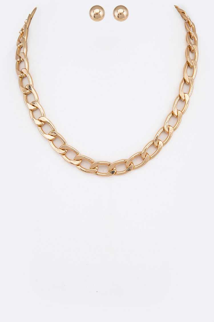 Curb Chain Link Necklace Set