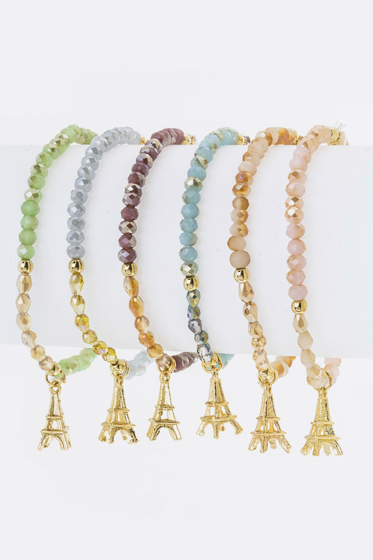 Eiffele Tower Charm Stretch Bead Bracelets Set