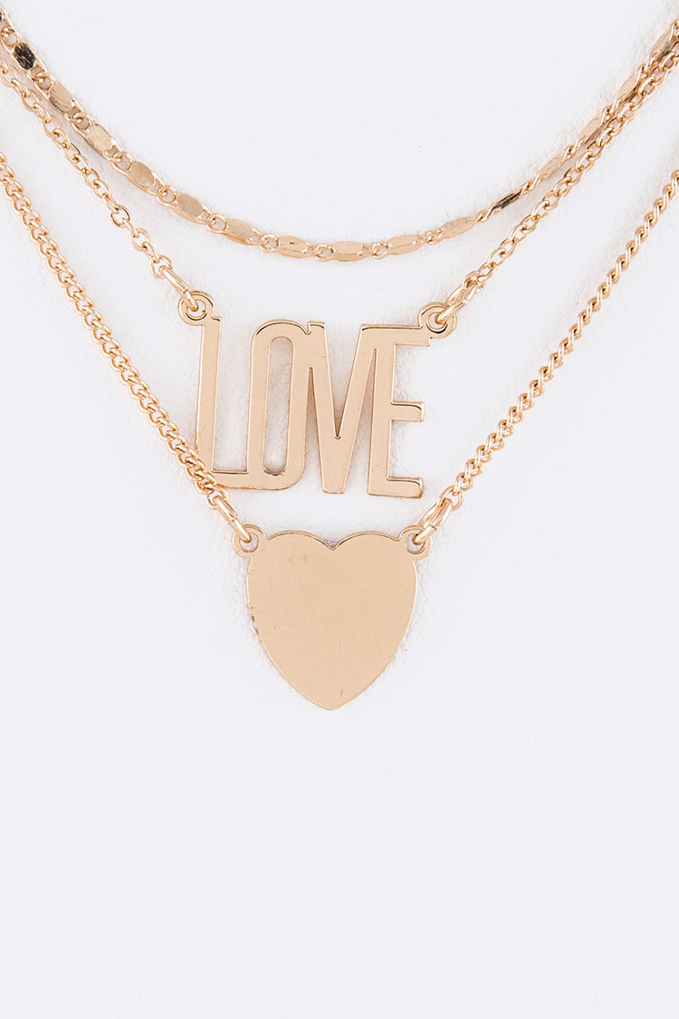Love & Heart Plates Layer Necklace