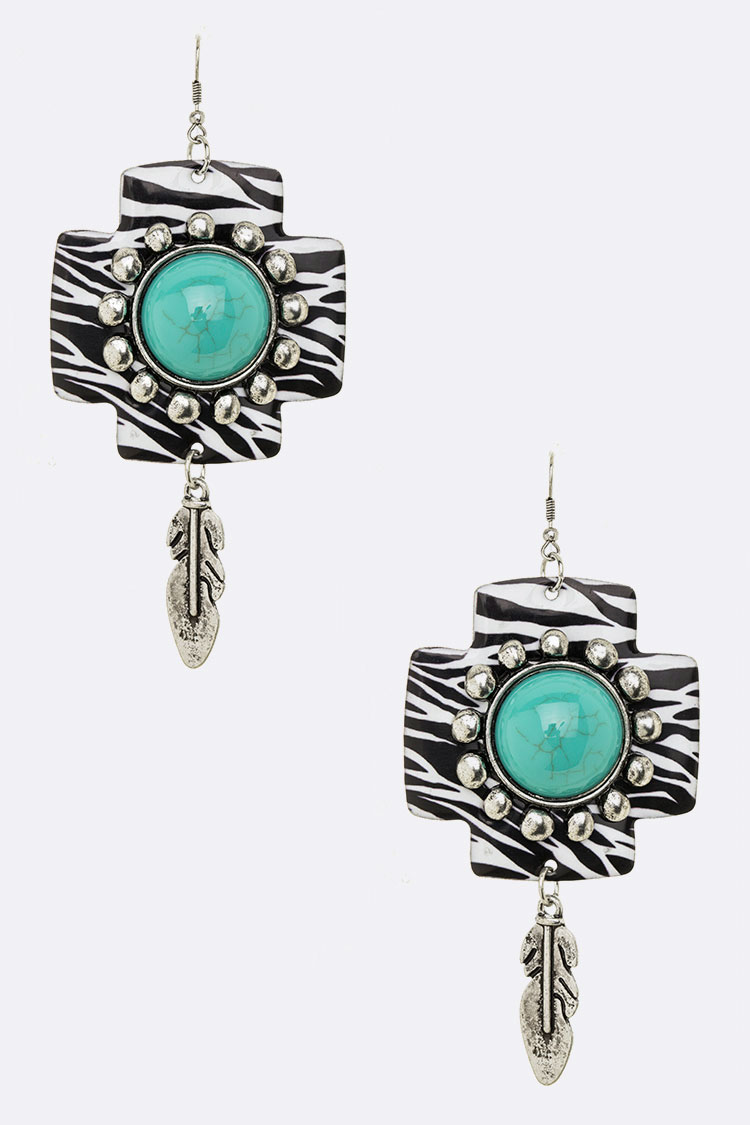 Feather Drop Western Turquoise Oversize Earrings