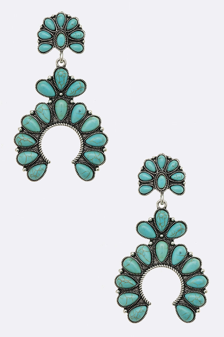 Squash Blossom Stone Pave Oversize Earrings