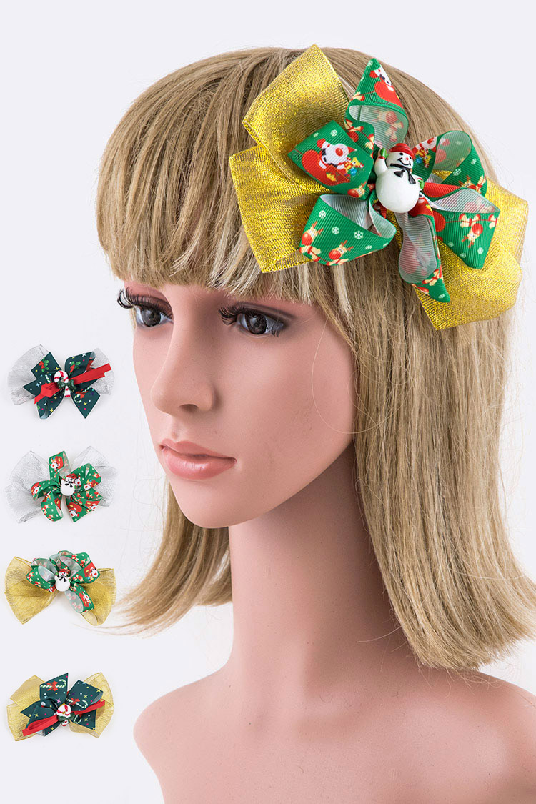 Holiday Metallic Bow Clip