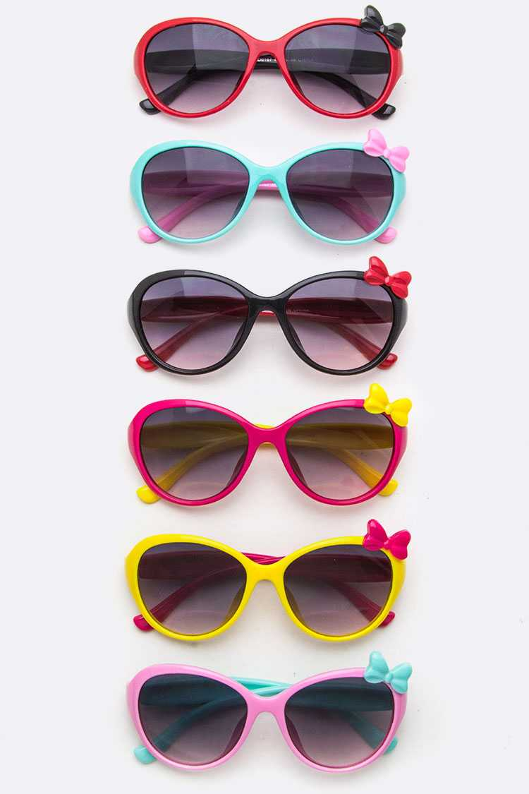 Kids Size Bow Accent 2 Tone Sunglasses
