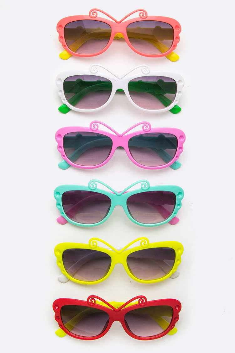 Kids Size 2 Tone Butterfly Sunglasses