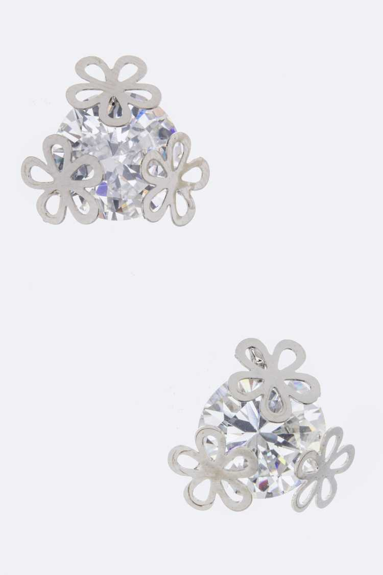 CZ Flower Studs Earrings