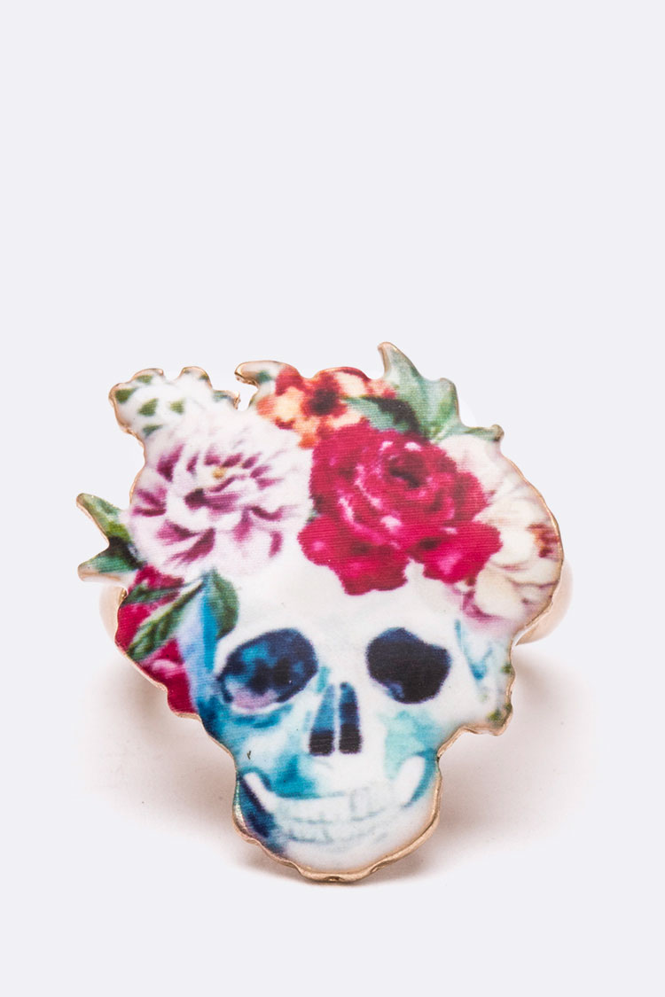 Rose Skull Iconic Printed Stretch Ring