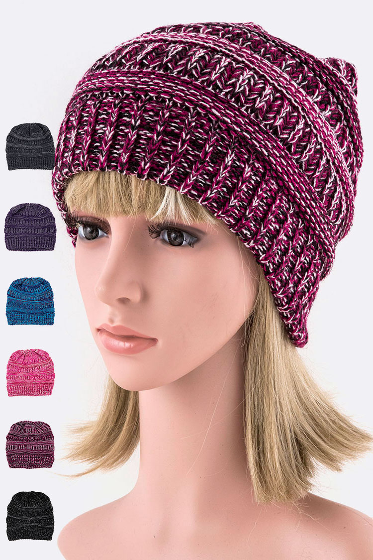 Raised Knit Ponytail Beanie Set