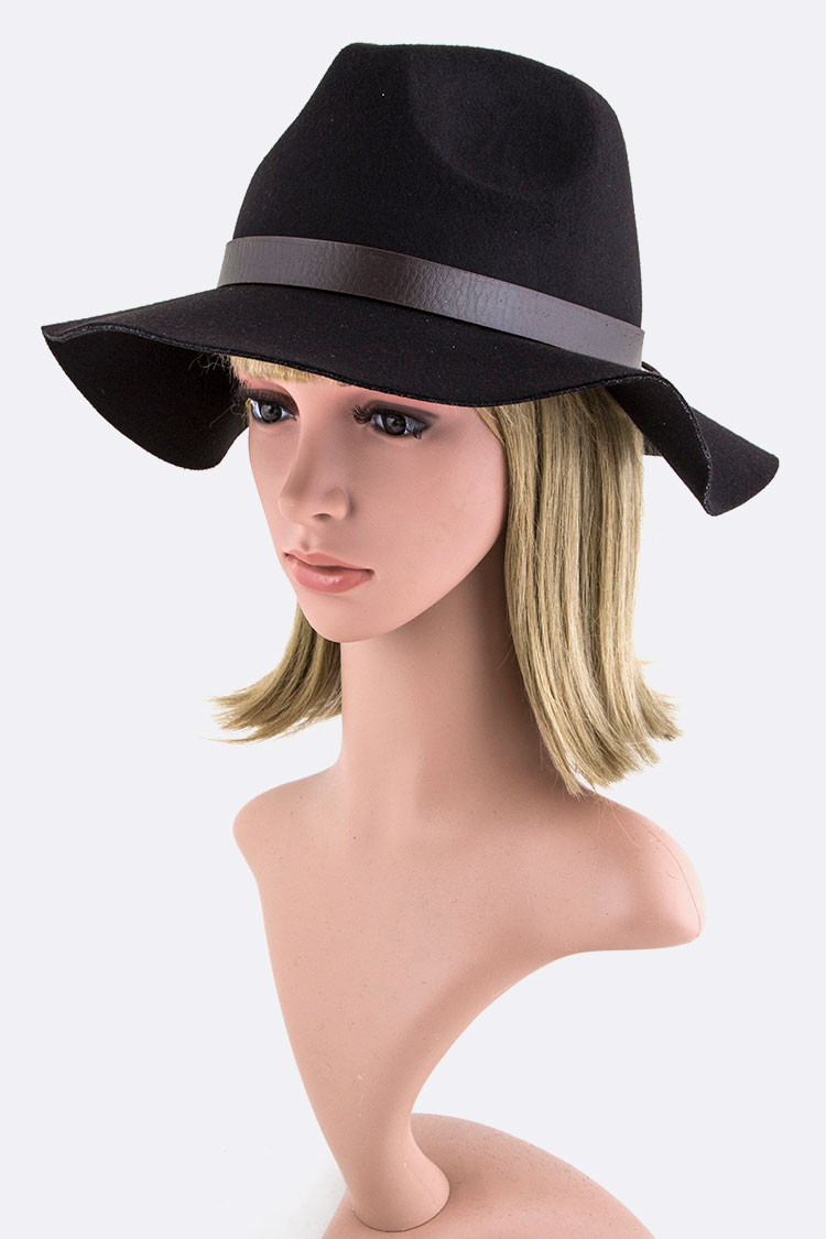 Leather Band Felt Panama Hat