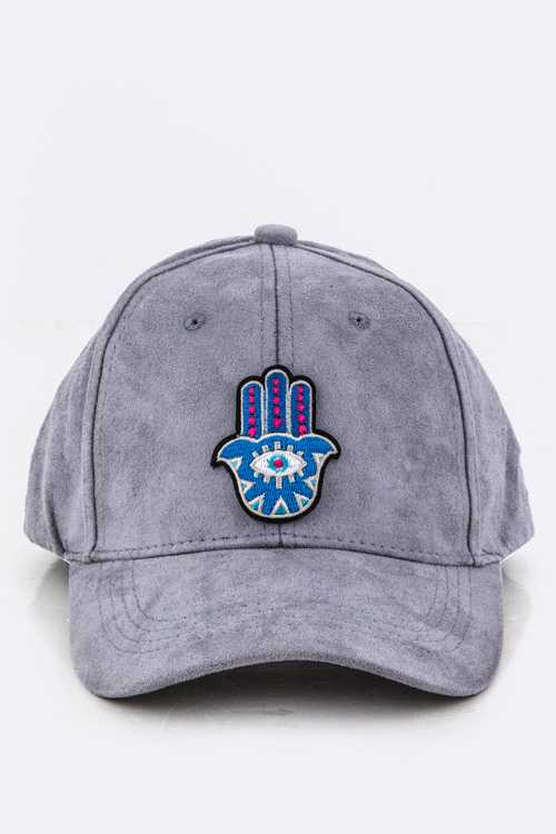 Hamsa Patch Sueded Cap
