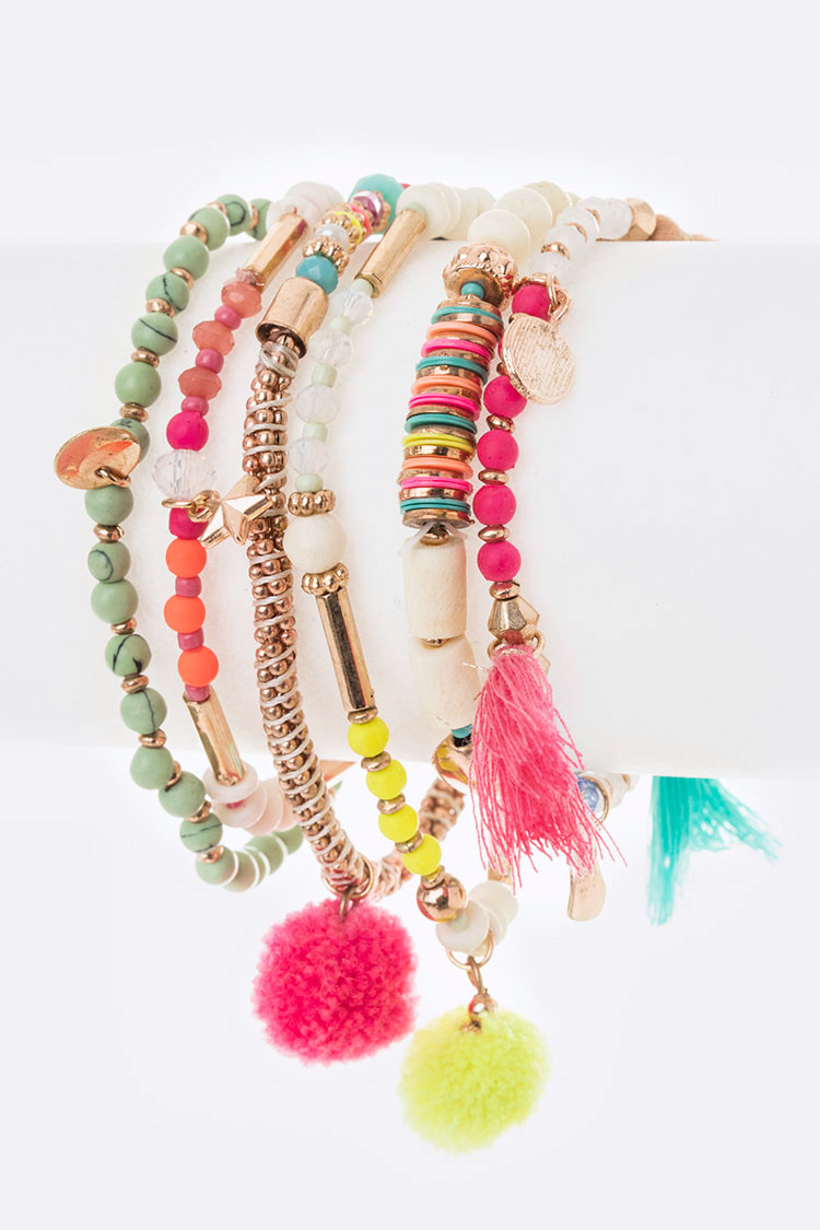 Neon Color Mix Pom Bracelet Set