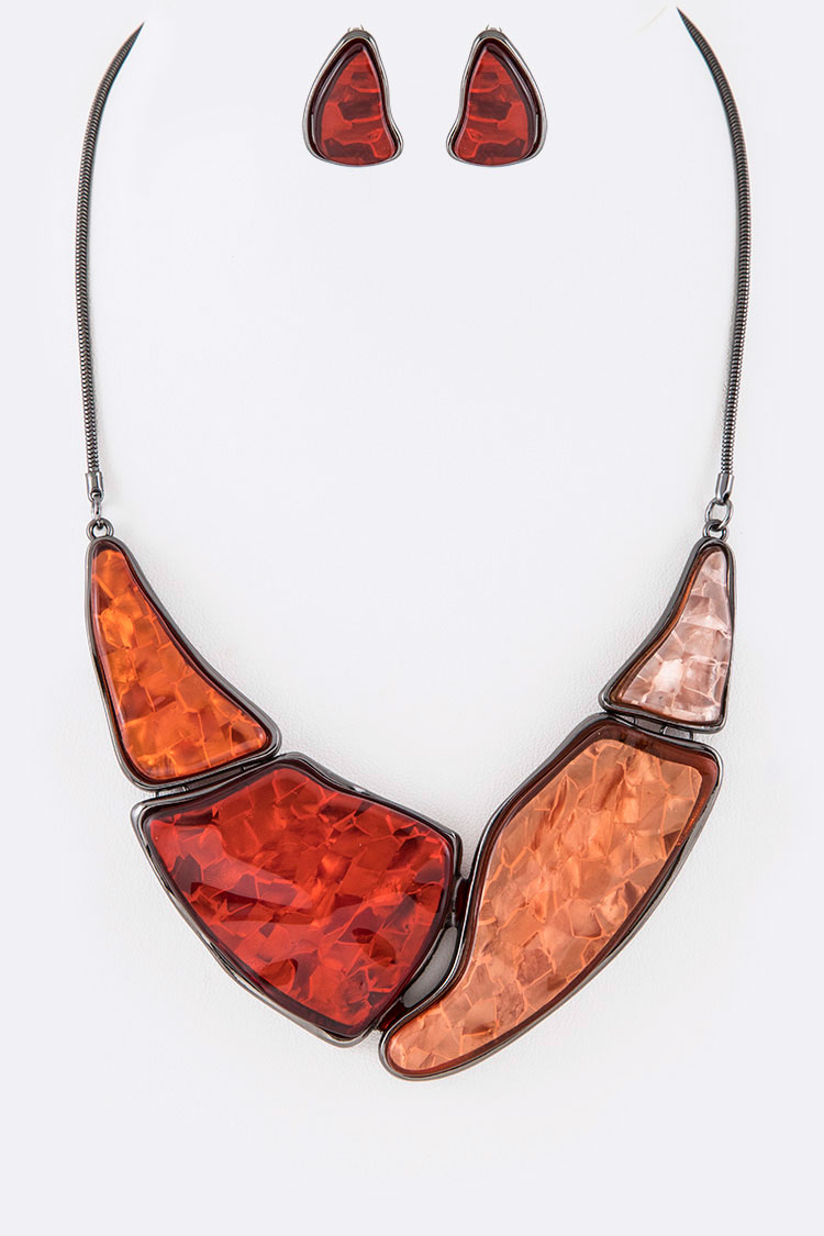 Resin Statement Collar Necklace Set