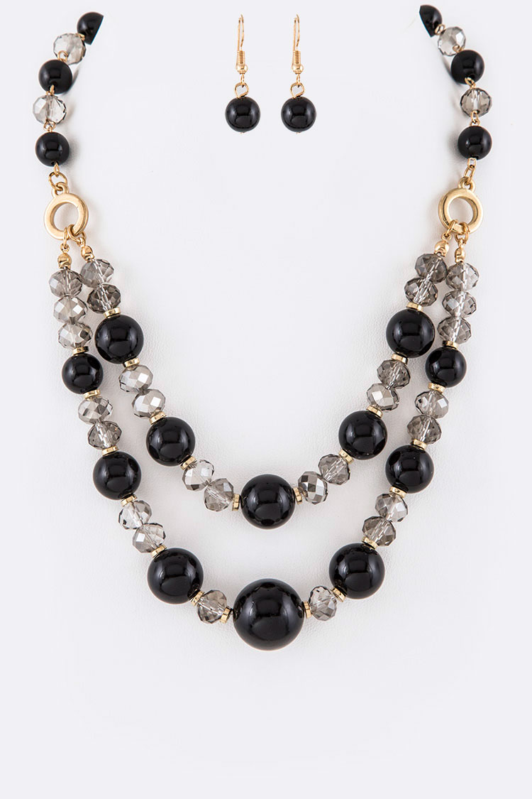 Crystal Layer Necklace Set