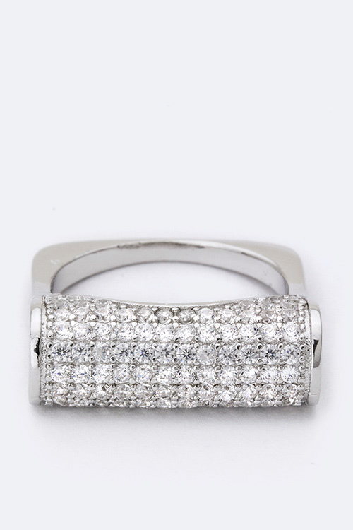 Rounded Bar CZ Iconic Cocktail Ring