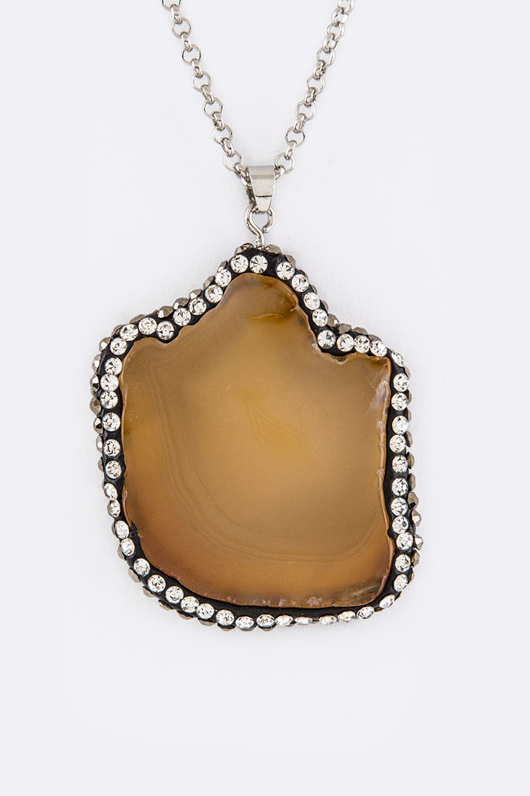 Semi Precious Stone Slice Pendant Necklace