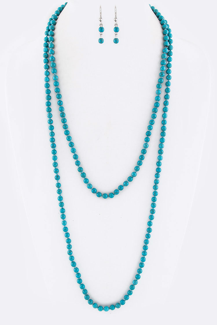 "6MM 60"" Knotted Genuine Stone Necklace Set"