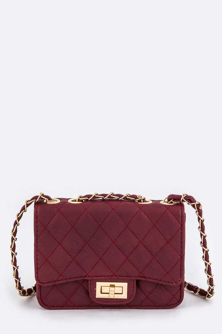 Quilted Twist Lock Shoulder Bag