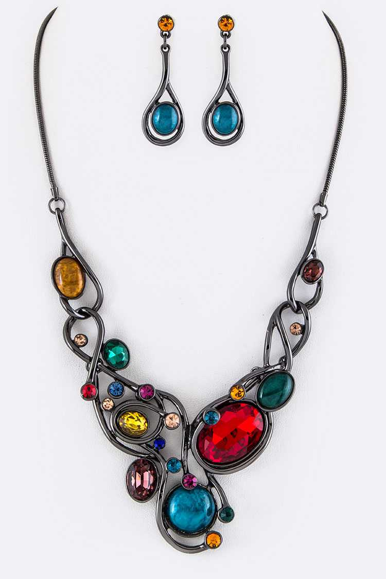 Mix Crystals Statement Necklace Set
