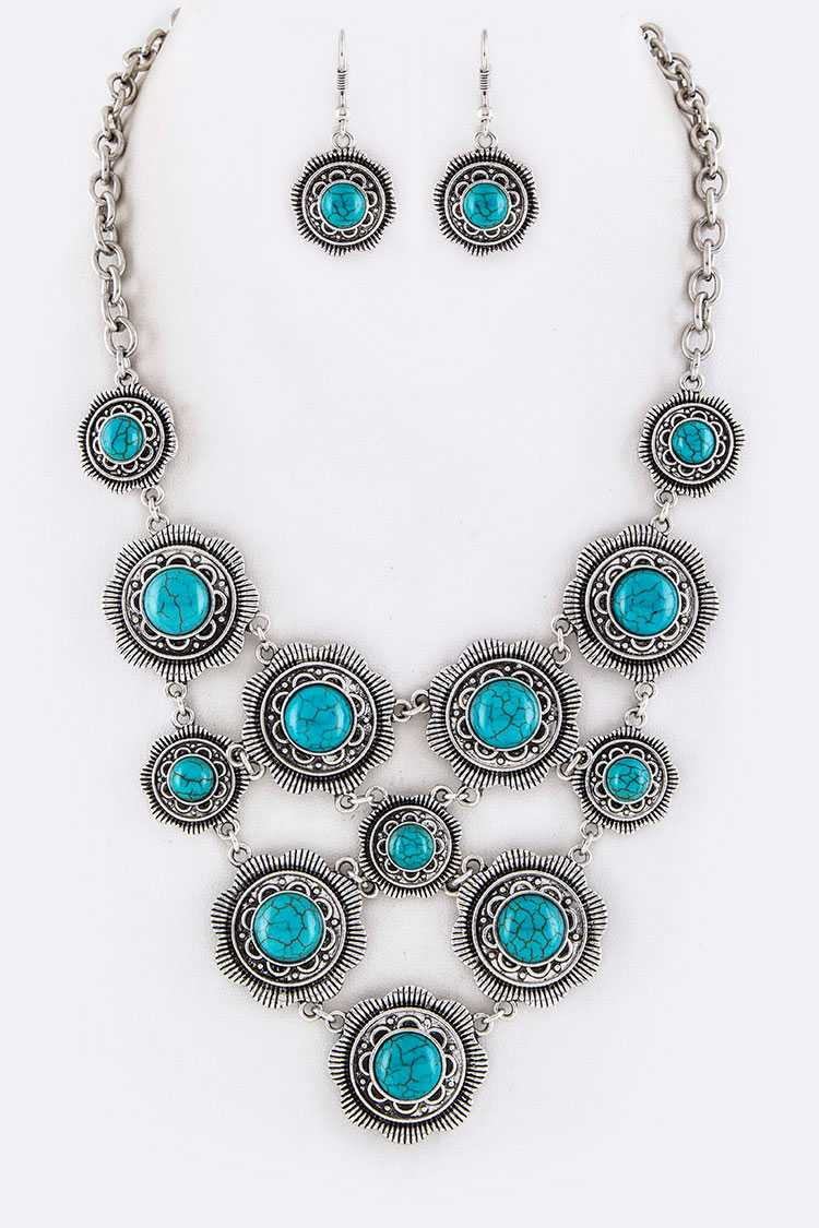 Pave Stone Disks Statement Necklace Set