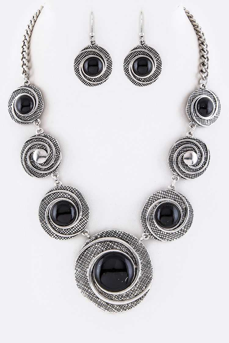 Pave Stone Vortex Disks Statement Necklace Set