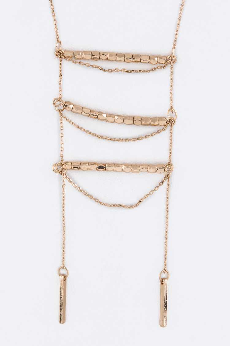 Metal Beads Layer Drop Necklace