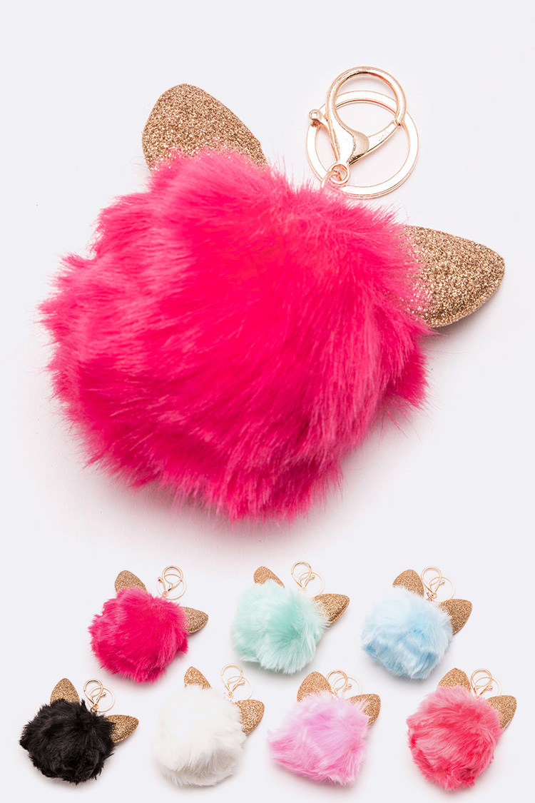 Glitter Ear Soft Pom Key Chain Set