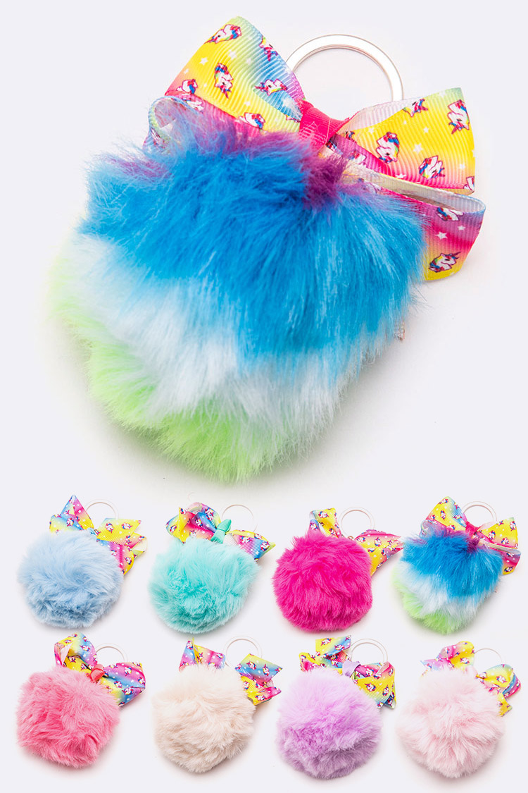 Unicorn Printed Bow Soft Pom Key Chain Set
